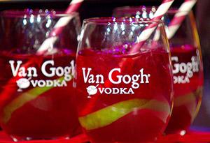 Honey Pom Pom cocktail in Van Gogh Vodka rocks glasses