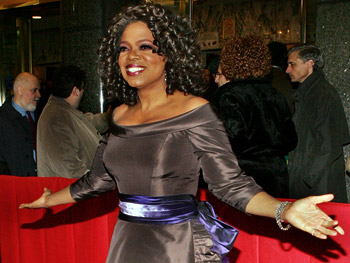 Oprah arrives on the red carpet