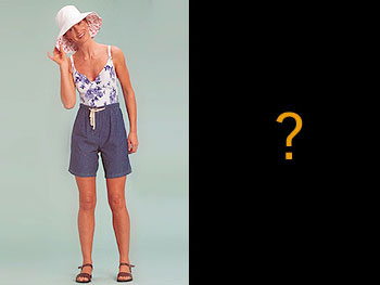 Trinny in high-waisted shorts