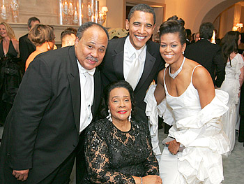 Martin Luther King III, Coretta Scott King, Barack Obama and Michelle Obama. Copyright 2005, Harpo Productions, Inc./George Burns & Bob Davis.
