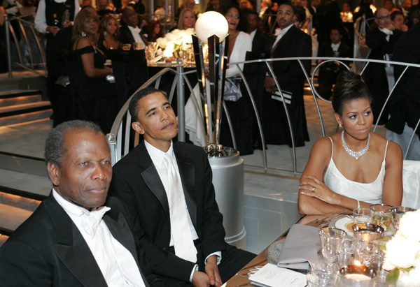 Sidney Poitier, Barack Obama and Michelle Obama