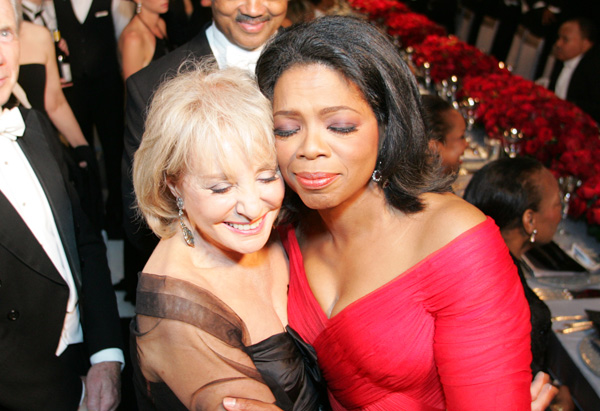 Oprah embraces Barbara Walters