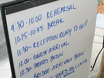 A schedule of the day's events