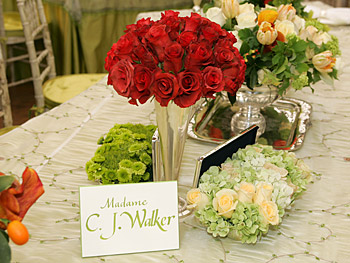 Flowers adorn the table.