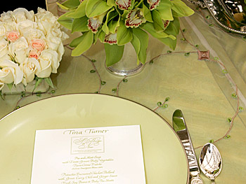 An individual place setting with a hand-crafted menu card