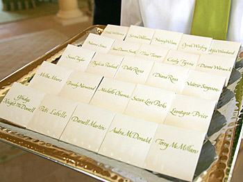 Name cards on a silver platter