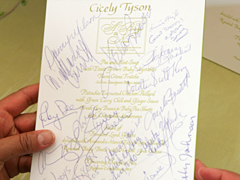 Cicely Tyson's signed menu card