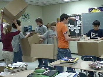 Students make boxes