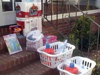 Friends and neighbors of the donors left baskets of household supplies for the two families.
