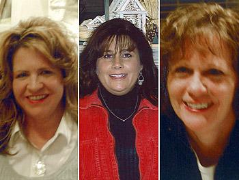 Lori, Jackie and Ellen reward volunteers for their work.