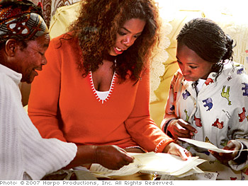 Oprah visits Ziphozonke's family.