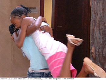 Eunice and Thando rejoice at being named roommates.