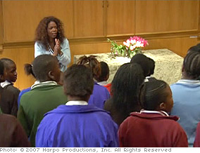Oprah addresses the girls before testing.