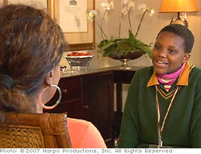 Lesego talks with Oprah.