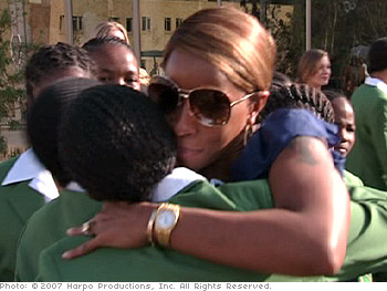 Mary J. Blige at the opening of the Oprah Winfrey Leadership Academy for Girls.