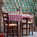 Traditional Italian table with wine