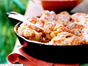 Apple Cobbler with Dropped Cheddar Biscuit Topping