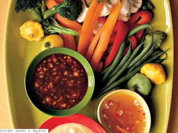 Market Vegetables with Dipping Sauces