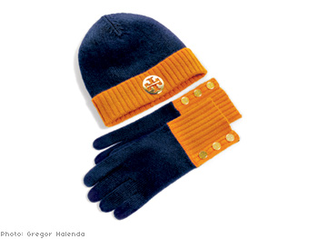 Tory Burch Reva Hat and Snap Button Gloves