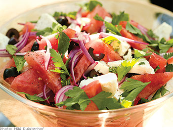 Watermelon, Feta and Black Olive Salad