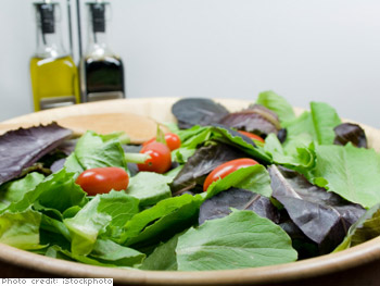 Substitute oil and vinegar for salad dressing.