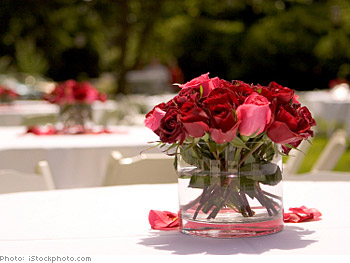 Save money with low floral centerpieces.