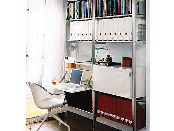 The Rakks shelving system features an Ikea foldout desk.