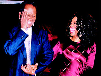Sidney and Oprah at his 78th birthday party.