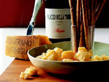 Parmigiano Reggiano cheese and Allegrini