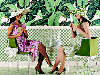 Wallpaper hats and handbags