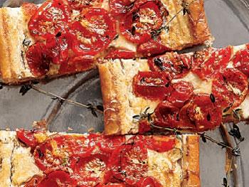 Tomato and three-cheese tart