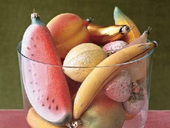 Amanda Lovell's bowl of fruit ornaments