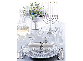 Crystal and sterling silver table setting