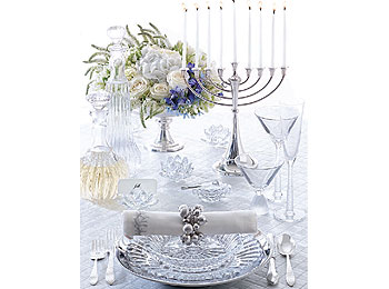 Glass and stainless steel table setting