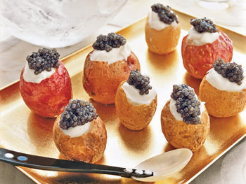 Roasted potatoes with caviar