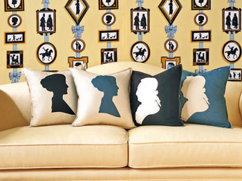 Silhouettes on throw pillows