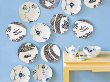 Porcelain tea set and Wedgwood blue plates