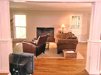 Colette's family room before Nate's makeover