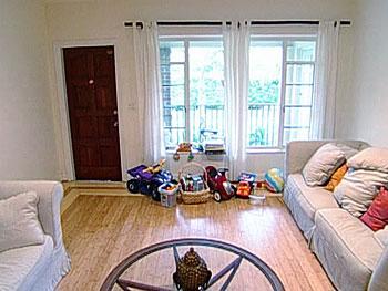 The Bassetts' living room before