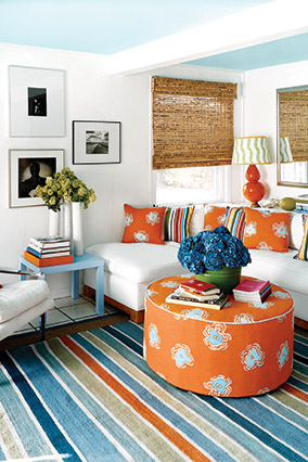 Blue And White Living Room With Orange Accents Part 94