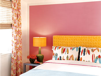 A yellow headboard