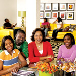 Designer Elaine Griffin with Hope Leadership Academy's Shauntrelle Conde, Darrell Conde and Rashida