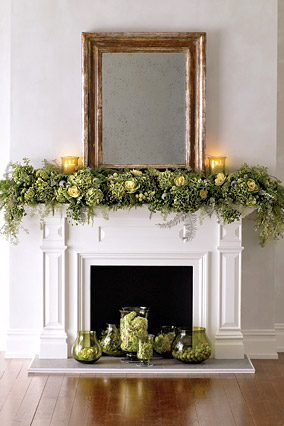 Evergreen-inspired mantel