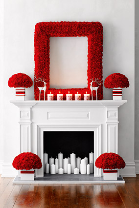Candy cane-inspired fireplace