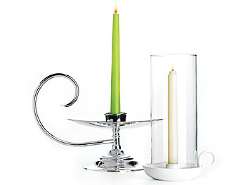 Silver and ceramic candleholders