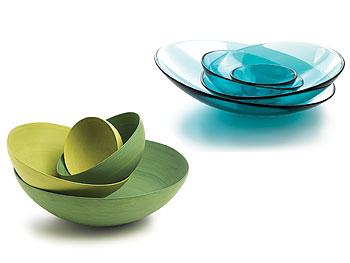 Organically shaped serving bowls