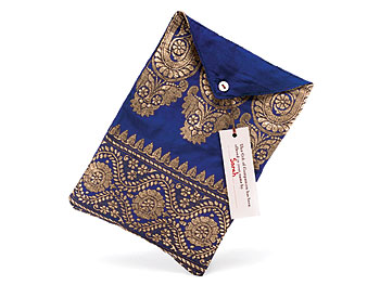 Sari-Fabric Pouch with Donation Cards