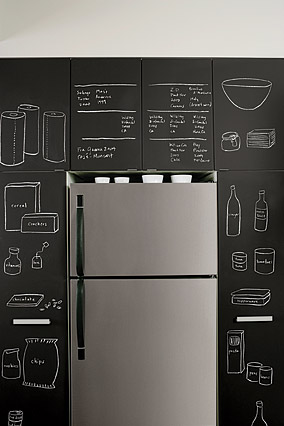 Chalkboard paint by the refrigerator