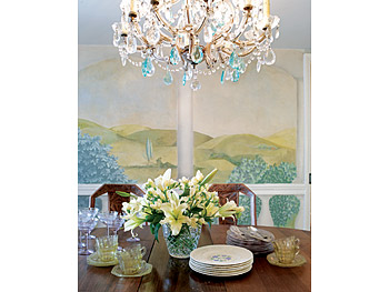 Maureen Dowd's dining room mural and chandelier