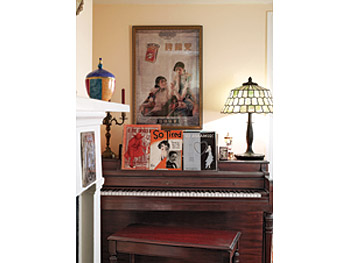 Maureen Dowd's upright piano and vintage sheet music in JFK's old bedroom.